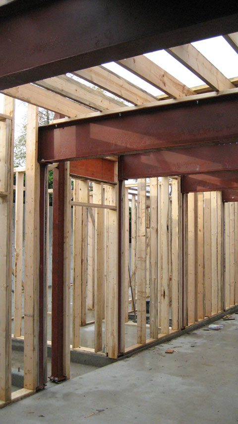 door+header-framing-steel+beams-and-steel+columns-floor+joists-on-top-of-steel+beam