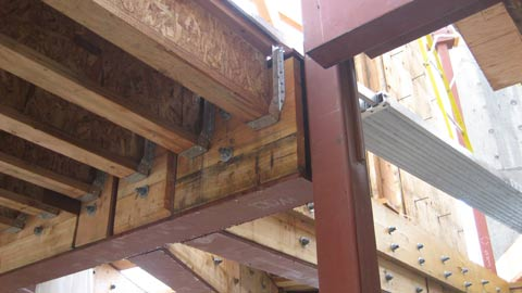 complex-steel-beam-connection-to-steel-cilumn-and-tji-joists