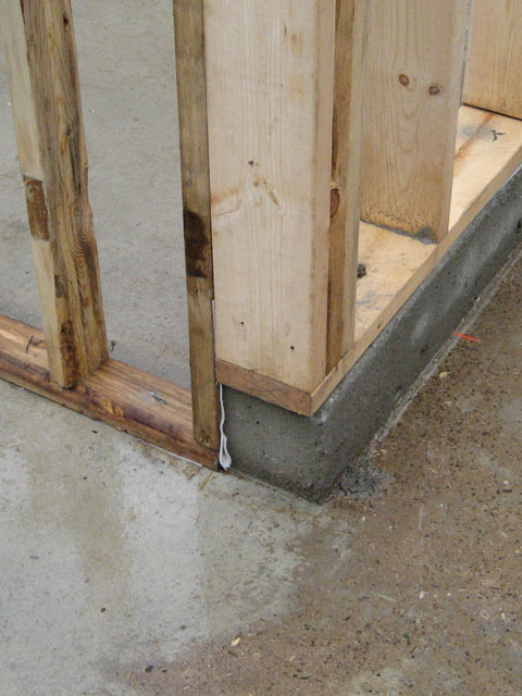 wood studs wood stud wall framing at stepped concrete foundation wall