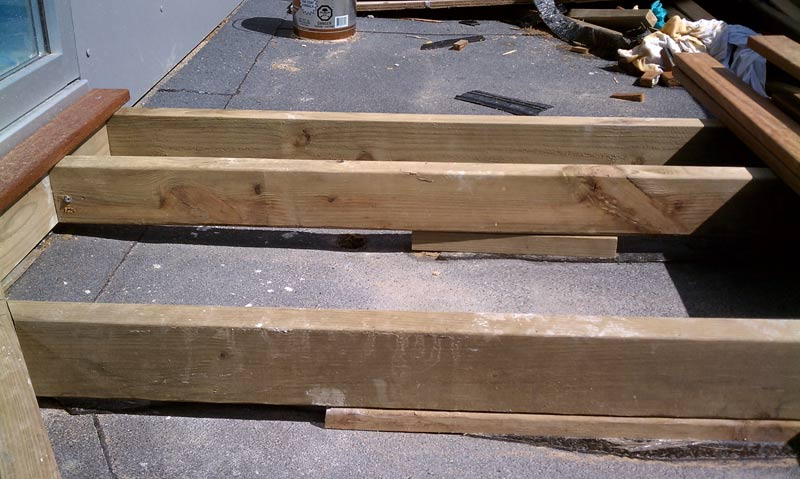 PRESSURE TREATED DECK SLEEPERS OVER SBS MEMBRANE