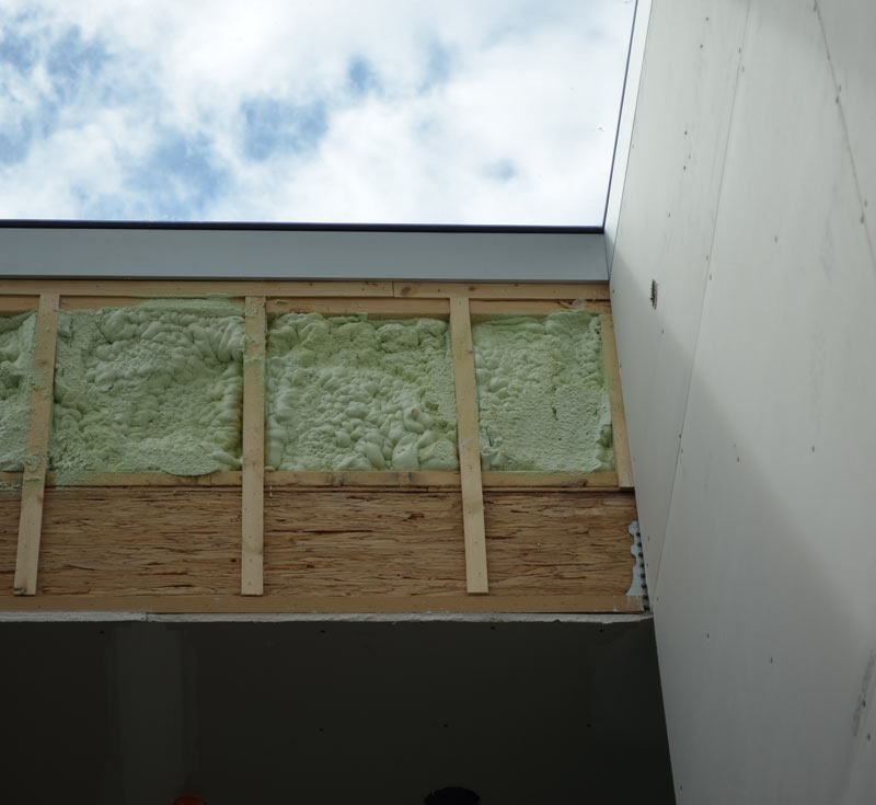 SKYLIGHT-VIEW-FROM-THE-INSIDE-----DETAIL------CURTAIN-WALL-FRAME-----SPRAY-FOAM-INSULATION-IN-CURB-WALL-----PLUS-DRY-WALL