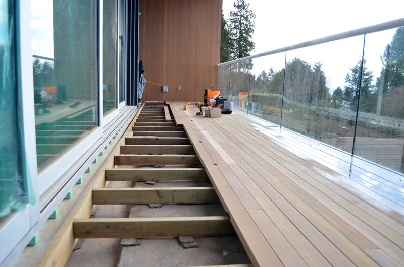 DECK OVER WOOD SLEEPERS AT SLIDING DOOR