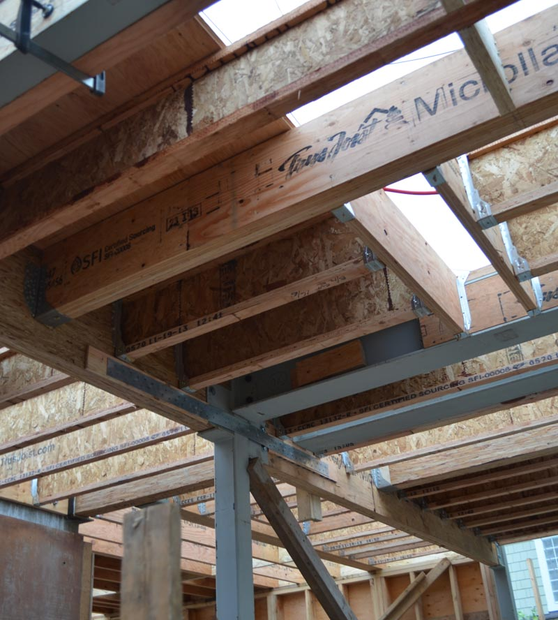 floor-framing---steel-and-wood-beams-and-joists---steel-HSS-column-support-with-a-steel-saddle