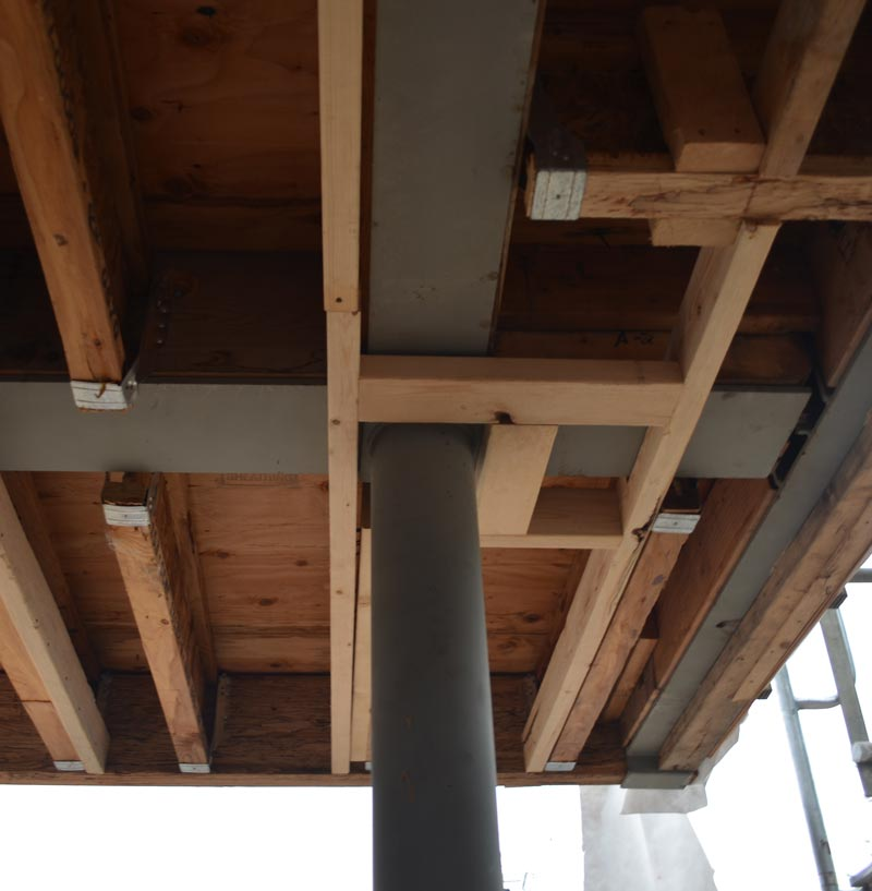 round-steel-column-connection-to-steel-I-beams