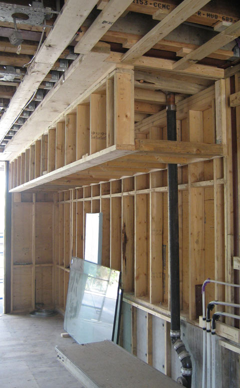 Bulkhead Framing Over Kitchen Counters And Roof Drainage