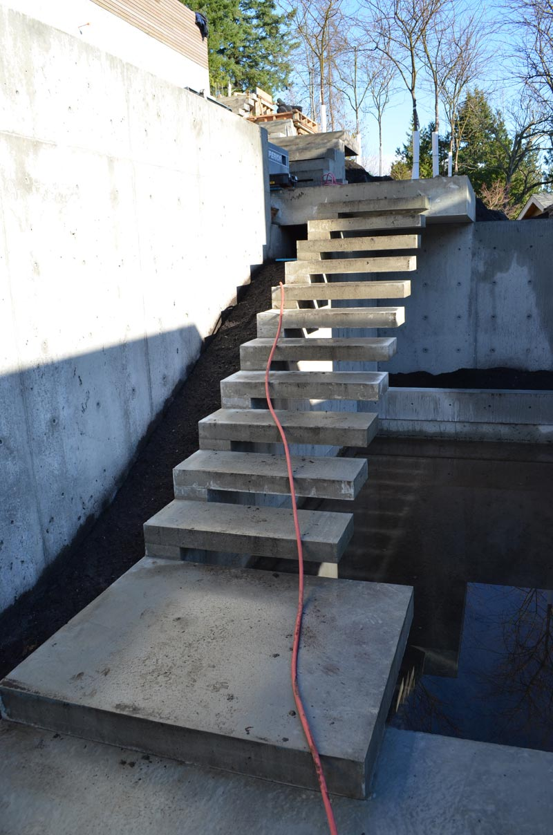 garage landing and stairs ideas - Detail – cantilevered concr stair home building in