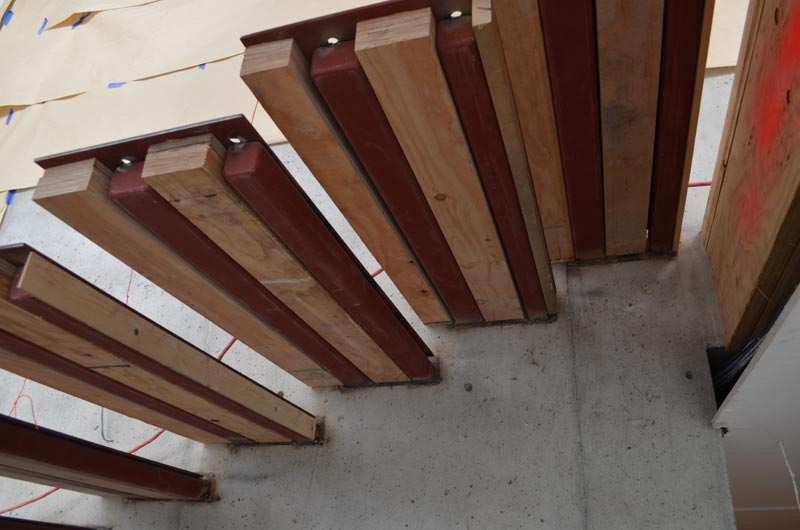 View From Below Of Cantilevered Steel Stair Made